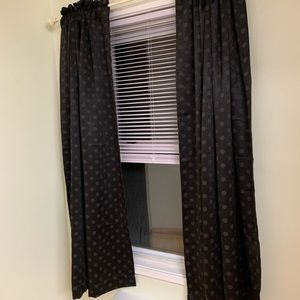 "Blackout black 63"" polka dot curtains"